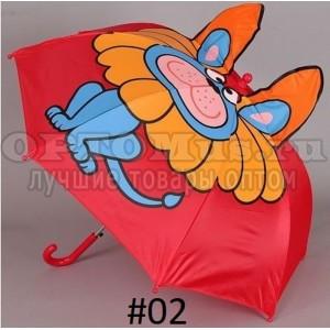 Зонт-трость детский с ушками 3D оптом