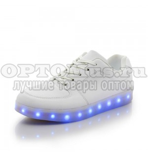 Кроссовки белые со светодиодной подсветкой (зарядка usb) оптом