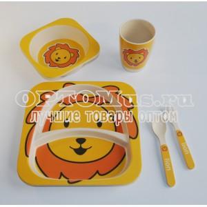 Набор детской посуды из бамбука оптом